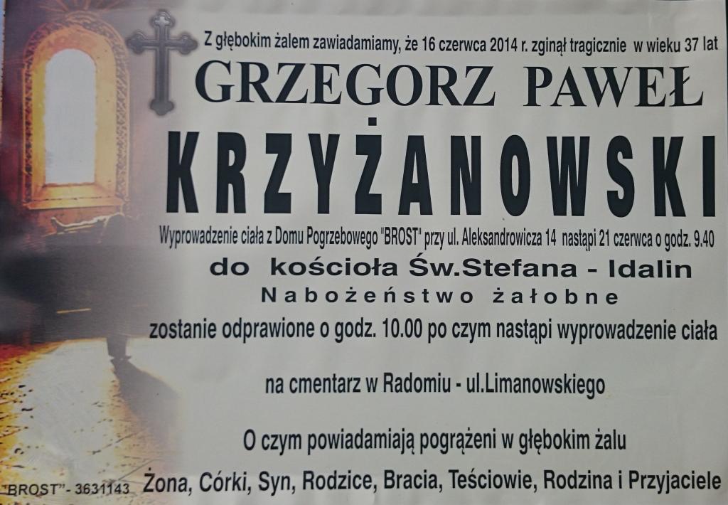 Pogrzeb Grzegorza Krzyżanowskiego